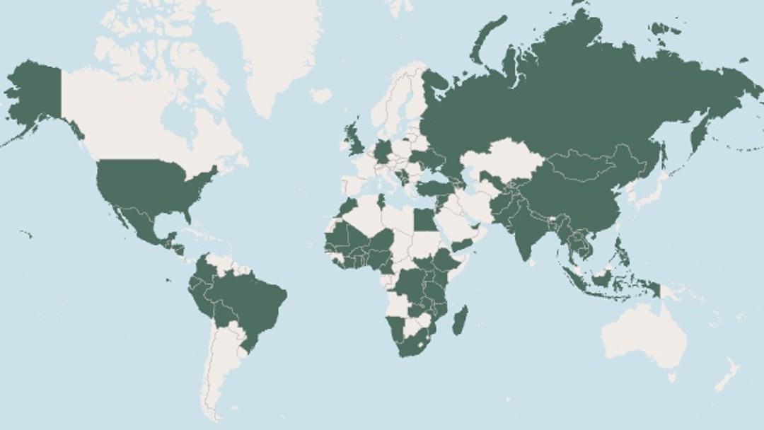 Weltkarte, farbliche Hervorhebung der Länder, in denen die KfW aktiv ist