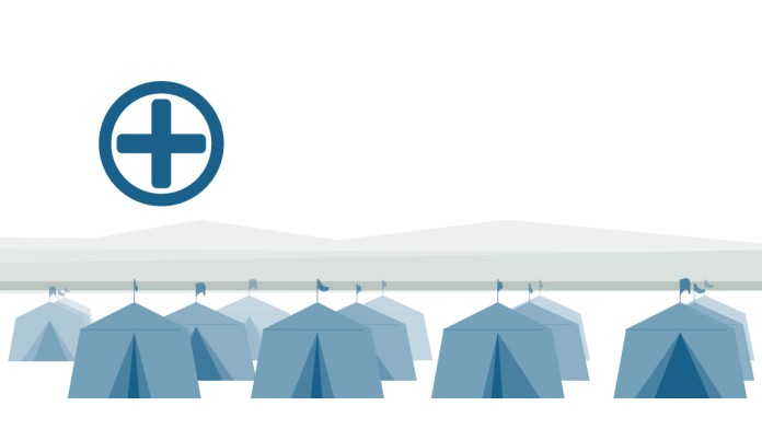Illustrationof seberal tents with small first aid icon