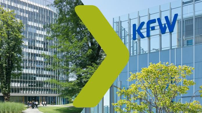 KfW-Schriftzug und Gebäude