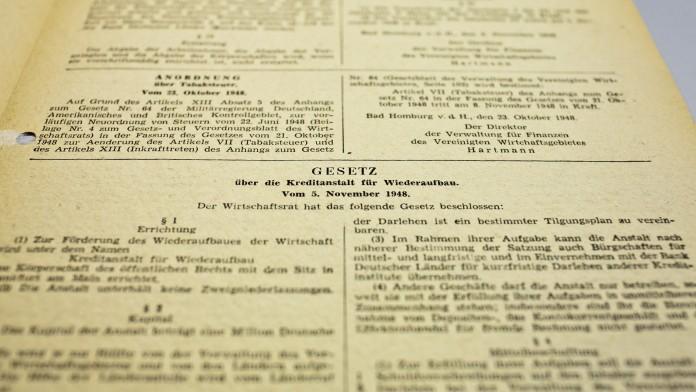 Das KfW Gesetz vom 5. November 1948 veröffentlicht im Gesetzblatt der Verwaltung des Vereinigten Wirtschaftsgebietes.