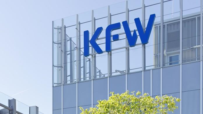 Blick auf die Dachterasse des Haupthauses der KfW-Niederlassung in Frankfurt im Juli 2014