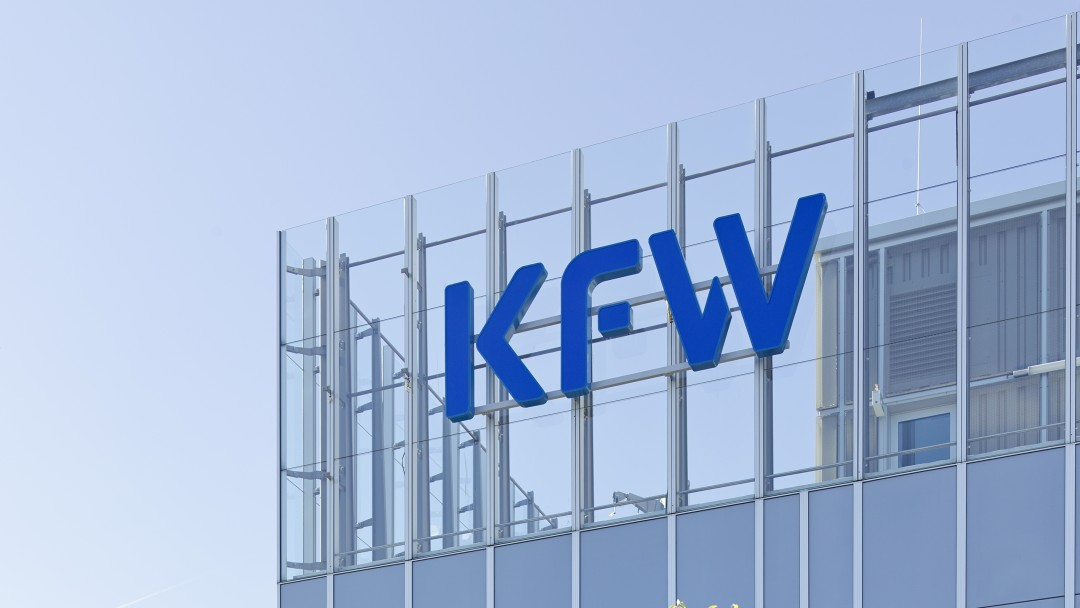 KfW headquarter Frankfurt, Haupthaus outdoor photo with logo
