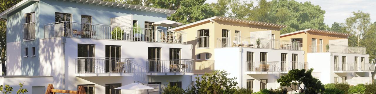 Neubau-Doppelhaushälften mit Garten und Balkonen