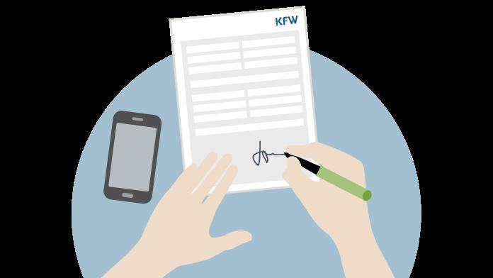 Grafik: Hände unterschreiben ein Blatt Papier, daneben liegt ein Mobiltelefon.