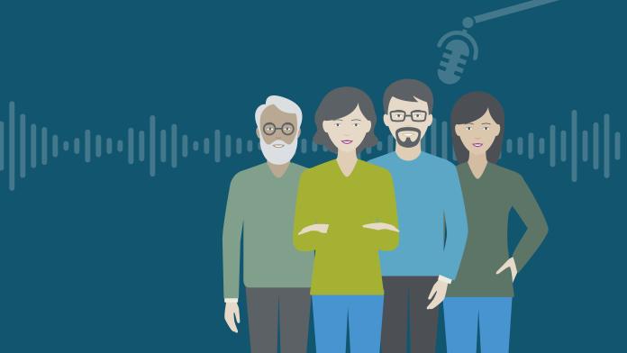 Grafik: Vier Personen über denen ein Aufnahmemikrofon hängt