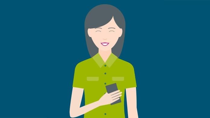 Grafische Darstellung einer lächelnden Frau, die ein Handy in der Hand hält.