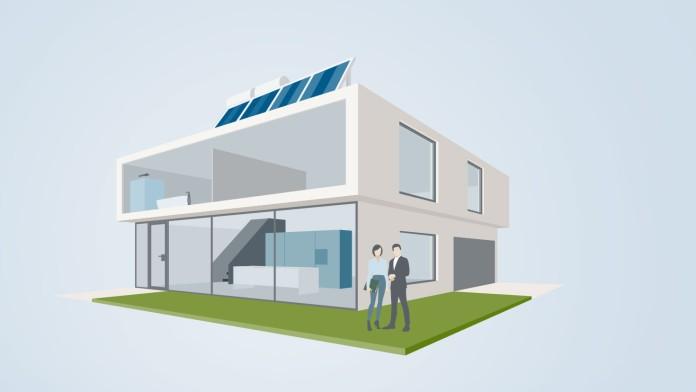Grafik animiertes Energiesparhaus