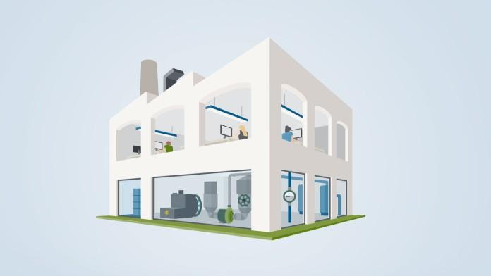 Grafik eines Hauses, dessen Dach teilweilse fehlt, so dass der Blick ins Innere frei wird.