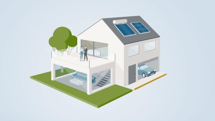 Grafik animiertes Haus mit Fördermaßnahmen Bestandsimmobilie