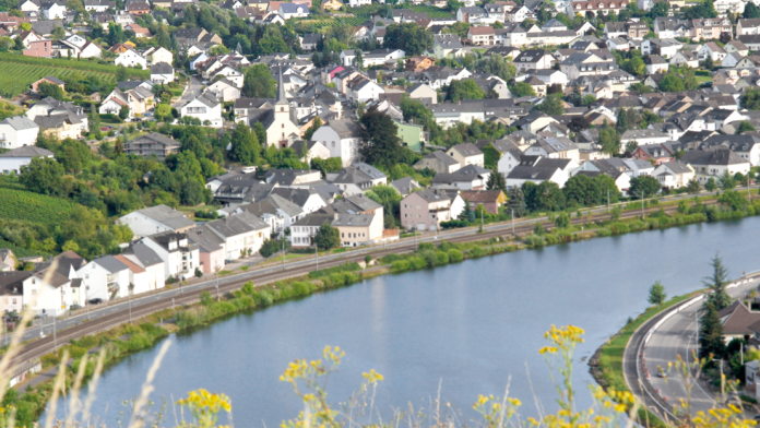 Aerial view of a small town on the Moselle