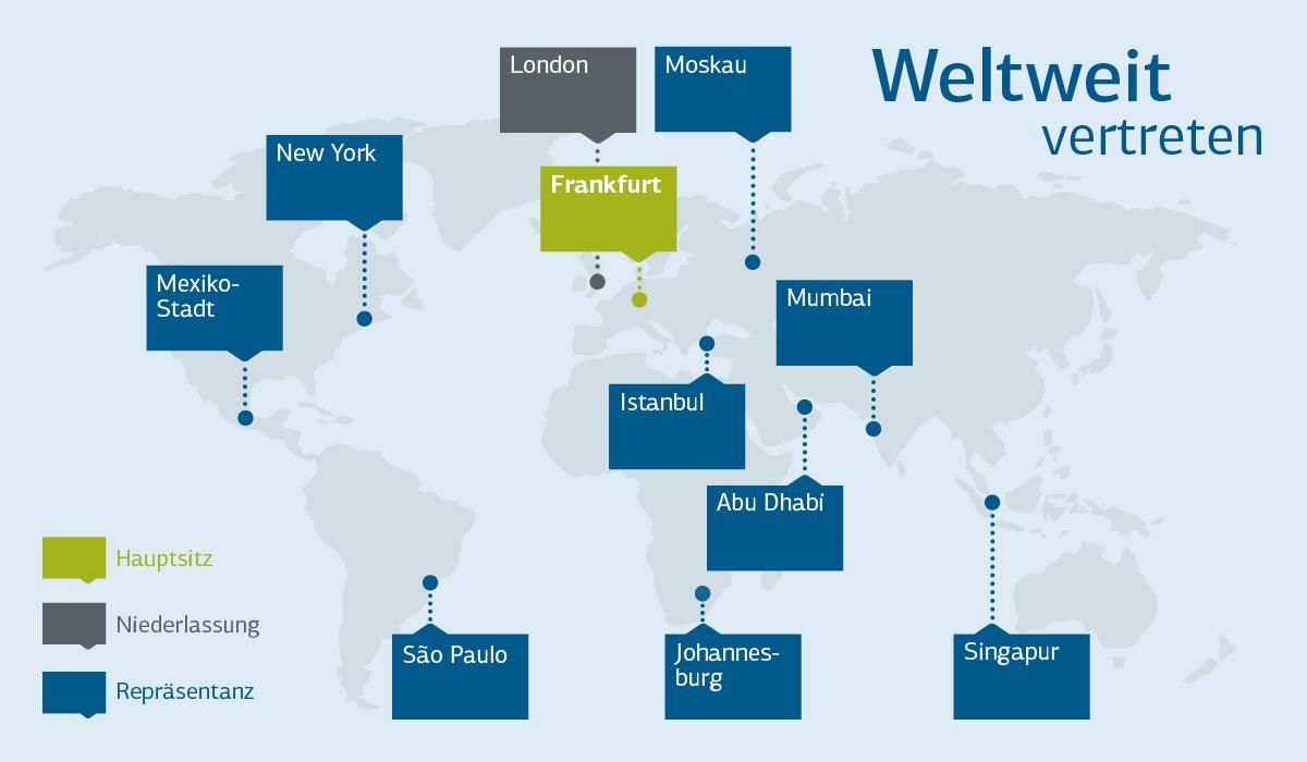 Grafische Darstellung Standorte KfW IPEX-Bank