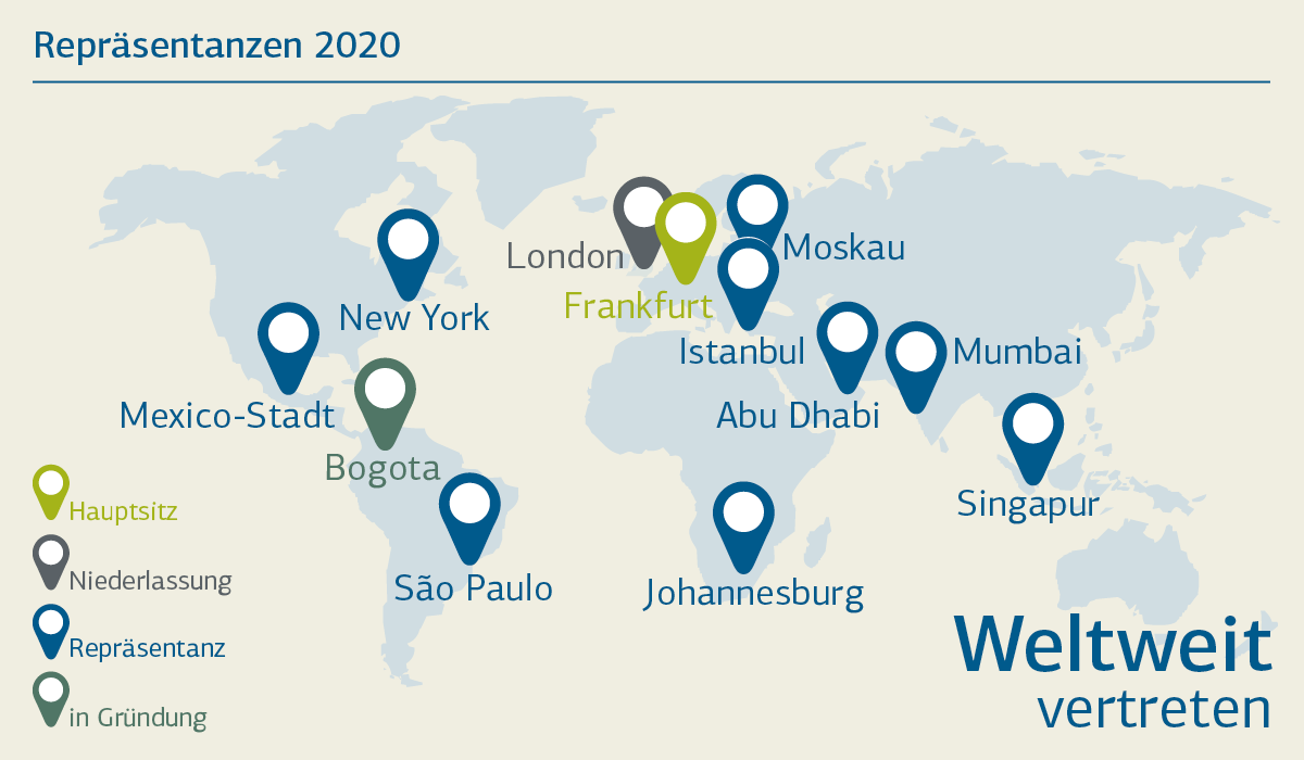 Grafische Darstellung der Standorte KfW IPEX-Bank