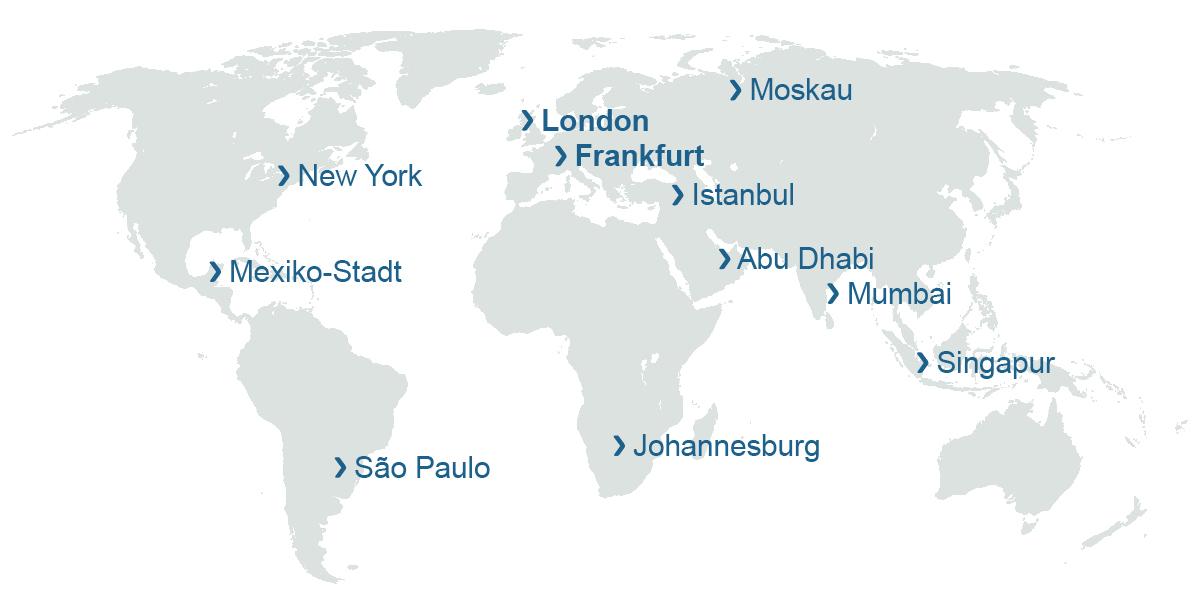 Grafische Darstellung Auslandsstandorte