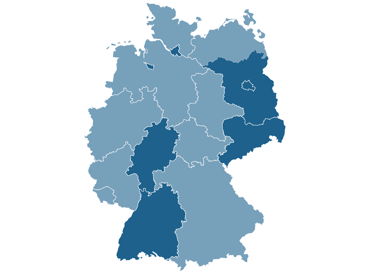 Image map of germany with highlighting