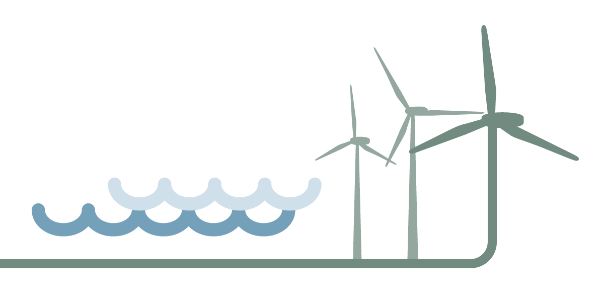 Graphic water and wind farms
