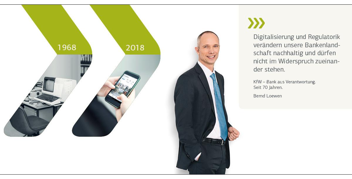 Vorstandsporträt Bernd Loewen; historisches Motiv 1968: Erste Comupterarbeitsplätze; aktuelles Motiv 2018: Smartphone mit KfW-Website