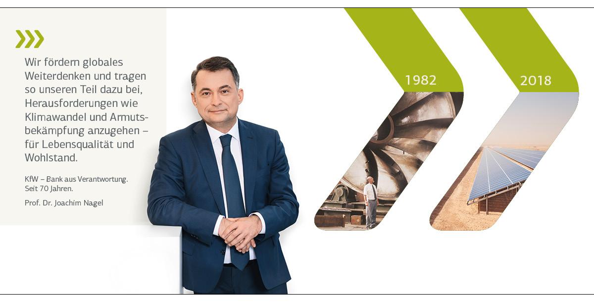 Vorstandsporträt Prof. Dr. Nagel; historisches Motiv 1982: Turbine im Wasserkraftwerk/Brasilien; aktuelles Motiv 2018: Solar PV-Anlage zur Versorung eines Flüchtlingscamps in Zaatari/Jordanien