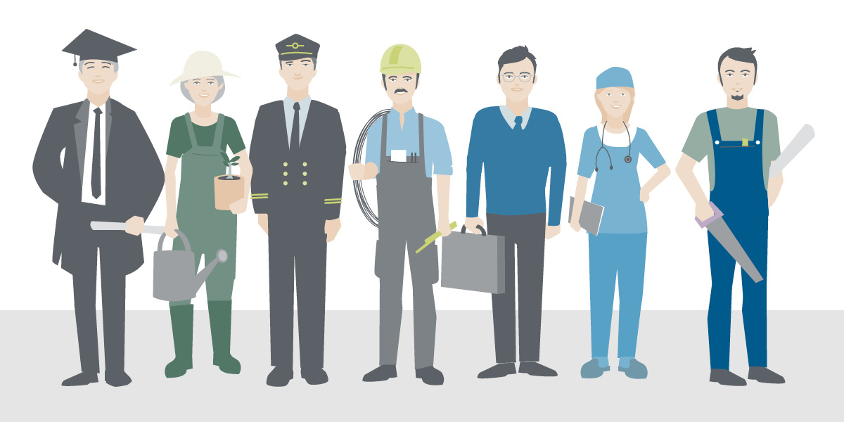 Graphic illustration people with different jobs