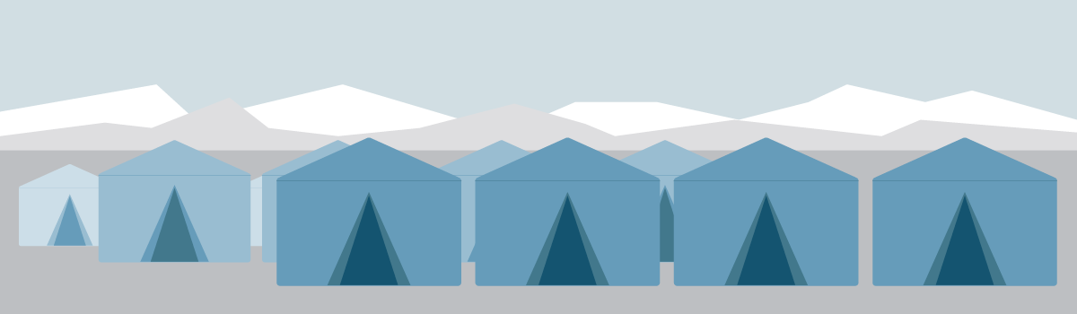 Graphic tents for refugees