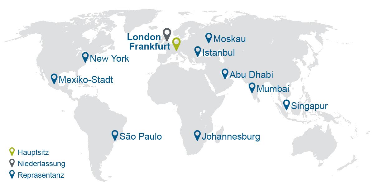 Grafische Darstellung Auslandsstandorte der KfW IPEX-Bank
