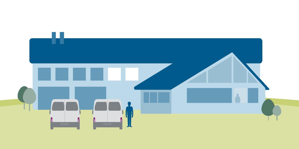 Grafische Darstellung Wohngebäude zum Thema CO2 Einsparen