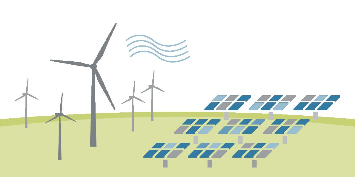 Grafische Darstellung Solar- und Windanlage zum Thema Umwelt (Großanlagen)