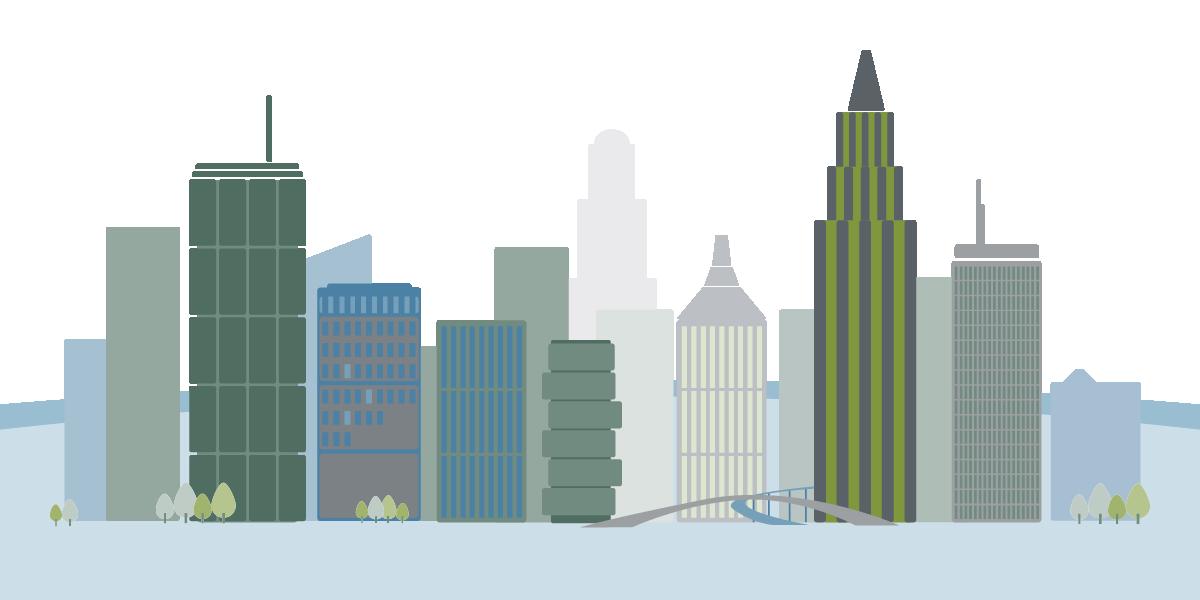 Grafische Darstellung Skyline zum Thema Globaldarlehensvolumen