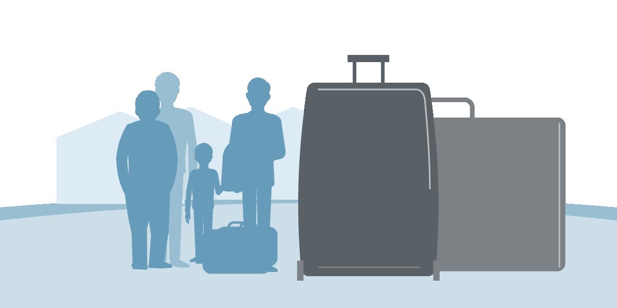 Grafische Darstellung Flüchtlingsgruppe und Koffer