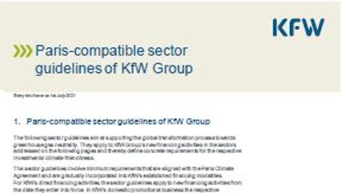 Titel of KfW's Sector guidelines