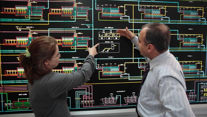 zwei Mitarbeiter einer Wasseraufbereitungsanlage, die auf einen Schaltplan deuten, im November 2008, Türkei