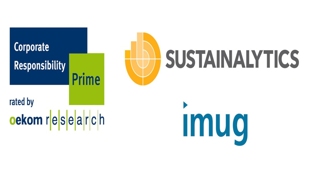 Corporate logos of sustainability rating agencies Oekom Research, Sustainalytics and imug