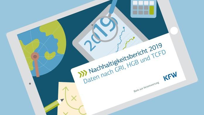 Deckblatt des Nachhaltigkeitsbericht 2019 auf einem ipad