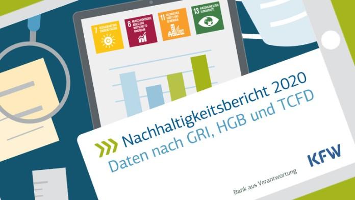 Titelseite des Datenteils des Nachhaltigkeitsberichts 2020 der KfW Bankengruppe