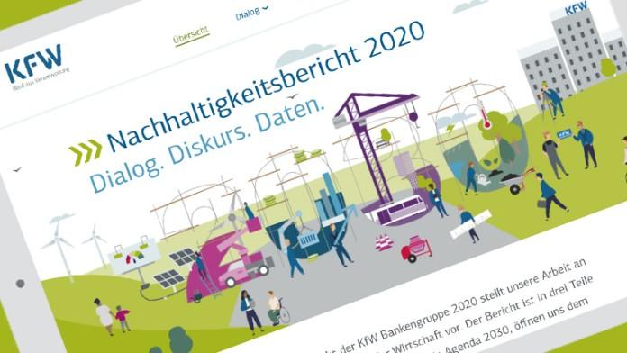 Titelseite des gesamten Nachhaltigkeitsberichts 2020 der KfW Bankengruppe