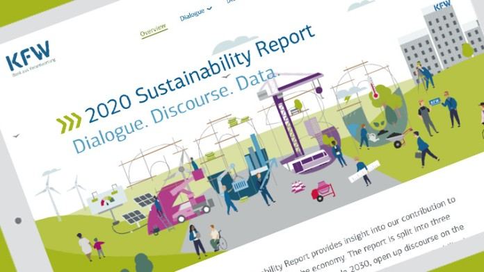 Front page of the entire Sustainability Report 2020 of KfW Group